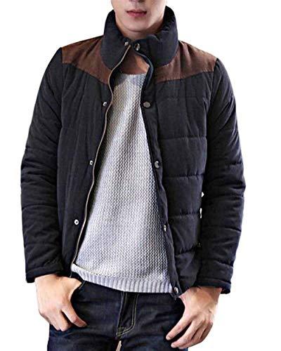 Huixin Men's Short Jacket Zipper Winter Jacket Apparel Down Jacket Stand Collar Outerwear Coat Coat Coat Marine