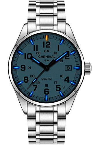 (Men's Self-luminous Wrist Watches Glow Lasting 25 Years Blue Light Sapphire Glass Silver Stainless Steel Analog Quartz Sports Waterproof Watch)