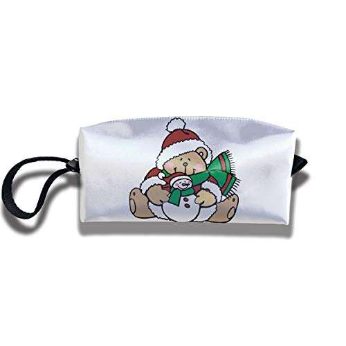 Cosmetic Bags With Zipper Makeup Bag Cute Teddy Bears Dressed For Christmas Middle Wallet Hangbag Wristlet Holder ()