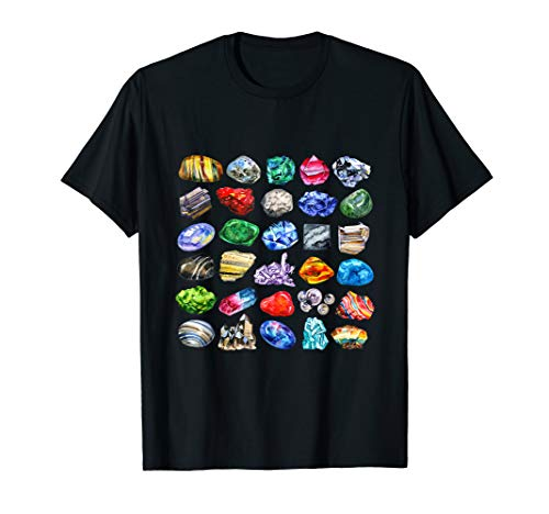 Minerals Gems and Crystals T-Shirt Rock Collecting Tee ()