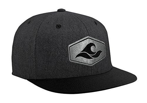 Joe's USA Koloa Surf Hexagon Patch Logo Solid Snapback Hat-Denim-Heather Black