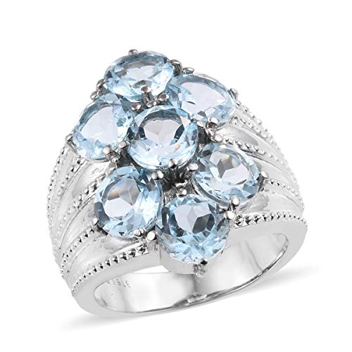 (Shop LC Delivering Joy Cluster Ring Stainless Steel Round Sky Blue Topaz Jewelry for Women Size 10 Ct 6.2)