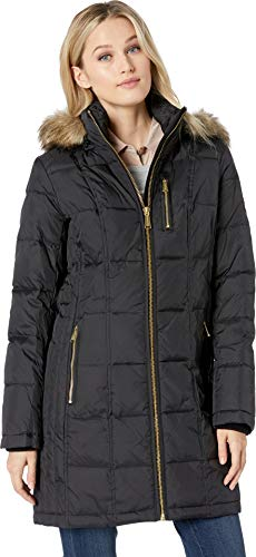 Michael Michael Kors Women's Zip Front Down with Zip Pocket at Top and Faux Fur Trim Hood M821883GZ Black Large