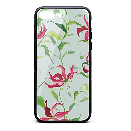 - Xanx Smon iPhone 7 Plus Case iPhone 8 Plus Case Tropical Leaves and Lily Floral Soft Silicone Bumper 9H Tempered Glass Back Cover Compatible iPhone 8 Plus/7 Plus