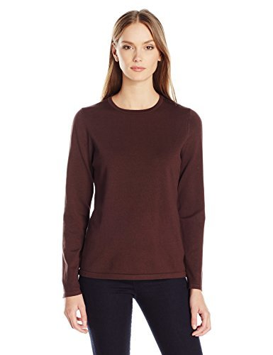 Pendleton Women's Washable Silk-Blend Jewel-Neck Pullover Sweater, Coffee Bean, L