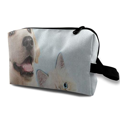 Makeup Bag Funny Puppy Dog with Cat Kitten Handy Travel Multifunction Clutch Pouch Bags Amazing Storage for Girls