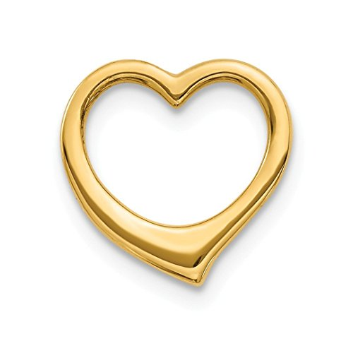 14k Yellow Gold 3 D Floating Heart Slide Necklace Pendant Charm Chain Fine Jewelry Gifts For Women For ()