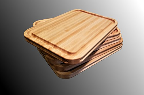 Maple Wood  Cutting Board Edge Grain, Reversible,  with Deep Juice Groove, Carved Inset Handles by Pacific Wood. Handmade In the USA 16 x 12 x 1 Inches (Carved Maple Top)