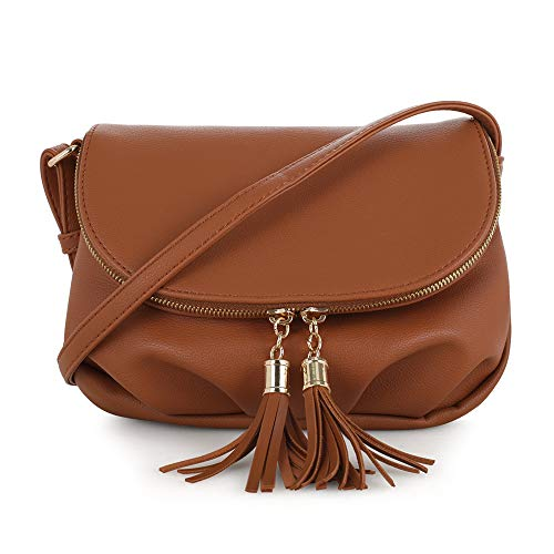 EMPERIA Women's Front Flap Small Messenger Crossbody Bag Zipper Clossure with Tassel Tan