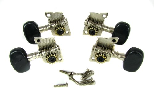 4pc. Black-Button Open Gear Ukulele Tuners - (Tuning Machine Button)