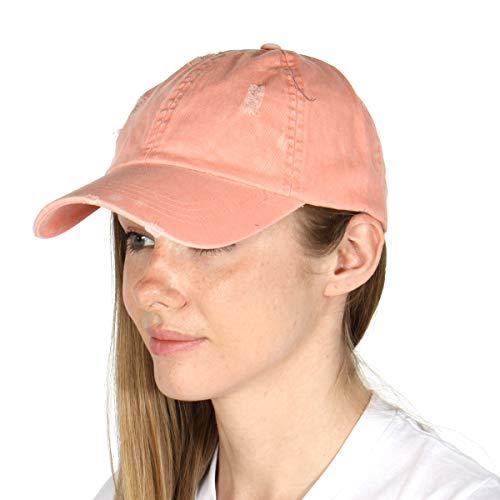 Washed Cotton Plain Baseball Cap, Loq Profile Vintage Twill hat, for Women Unisex Dad Dusty Pink