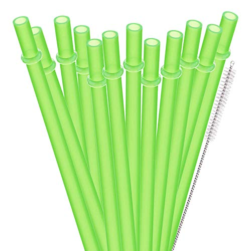 (Dakoufish 12 Piece 11 Inch Reusable Plastic Thick Drinking Straws BPA Free Mason Jar Straws Plain Color )