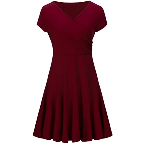 Price comparison product image Minisoya Summer Women Casual A Line Dress Short Sleeve V-Neck Evening Party Wrapped Pleated Tunic T-Shirt Dress (Wine,  M)