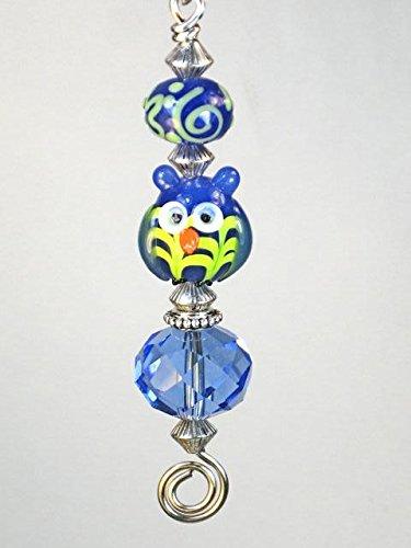 - Cobalt Blue Lamp Work Artisan Glass Owl Ceiling Fan Pull Chain - Lamp/Light Pull