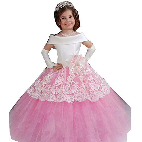 Kelaixiang Pink Lace Princess Ball Gown Wedding Party Flower Girl Dress For Girl (2) by Kelaixiang