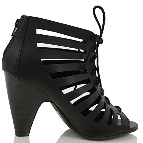 Delicioso Para Mujer Richelle Strappy Lace Up Chunky Heels Pumps Negro