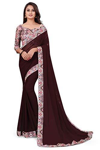 SWARA TEX Printed Bollywood Georgette Chiffon Saree