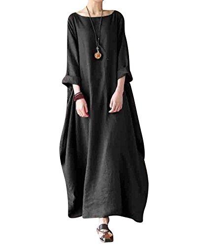 Jacansi Women Casual Party Oversize Cotton Linen Asymmetric Hem Swing Maxi Dress Black XL