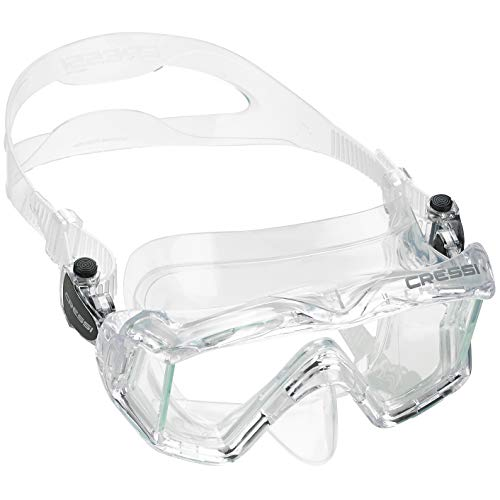Cressi Italian Designed Pano 3 Panoramic View Tempered Glass Lens Premium Scuba Snorkeling Dive Mask, Crystal Clear
