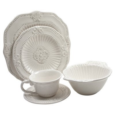 Piece Baroque 20 - American Atelier Baroque 20-Piece Dinnerware Set - White