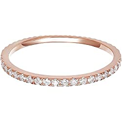 PAVOI AAAAA CZ 14K ROSE GOLD Plated Silver Cubic Zirconia Stackable Eternity Ring - Size 7