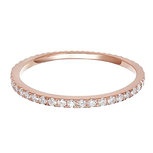 PAVOI AAAAA CZ 14K Rose Gold Plated Silver Cubic Zirconia Stackable Eternity Ring - Size - Rose Large Silver