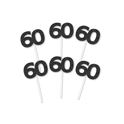 60th Birthday Black Glitter Cupcake toppers (20 (Hill Cake)