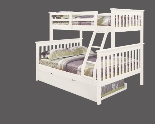DONCO Bunk Bed Twin over Full Mission Style with Trundle in White