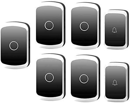 コードレスプラグインドアベル、家庭用防水リモートドアベル36メロディーと4レベルボリューム1000Ft範囲(2プッシュボタンと5レシーバー),3