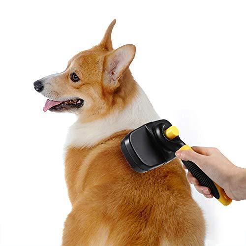 Dog Brush & Cat Brush - Pet Grooming Brush - Shedding Tools - Self Cleaning Slicker Brushes - Professional Effectively for Short medium Long Hair ()