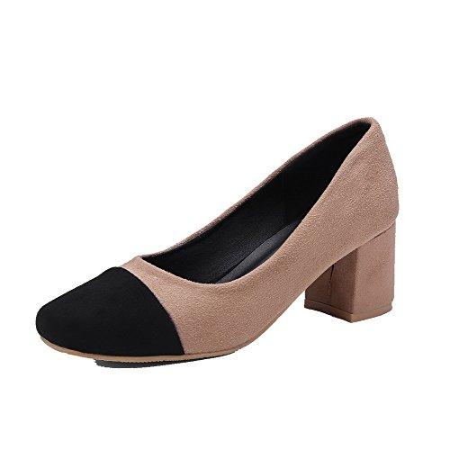 Talon AgooLar à Femme Abricot Légeres Suédé Chaussures Mélangées Correct Couleurs wqrX6v1q