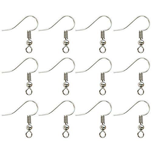 TOAOB 100pcs Surgical Steel Ball Coil Fish Earring Hooks Ear Wires 19 x 18 mm for Jewelry Making