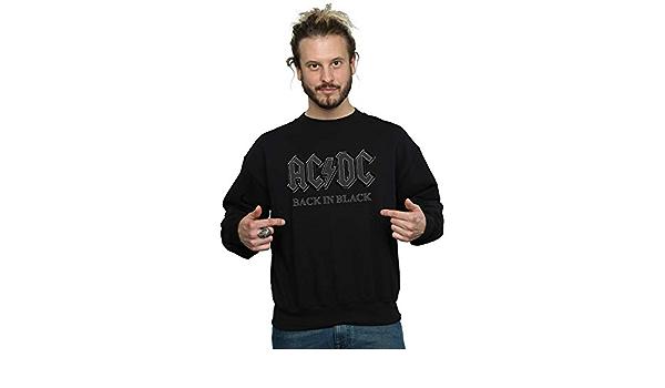 AC/DC Hombre Back In Black Camisa De Entrenamiento: Amazon.es ...