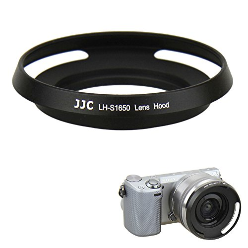 JJC 40.5mm Screw in Lens Hood Shade for Sony E PZ 16-50mm f/3.5-5.6 OSS Retractable Zoom Lens (SELP1650) Used on Sony Alpha A6500/A6300/A6000/A5100 and other Sony E-Mount Mirrorless - Lense Shade