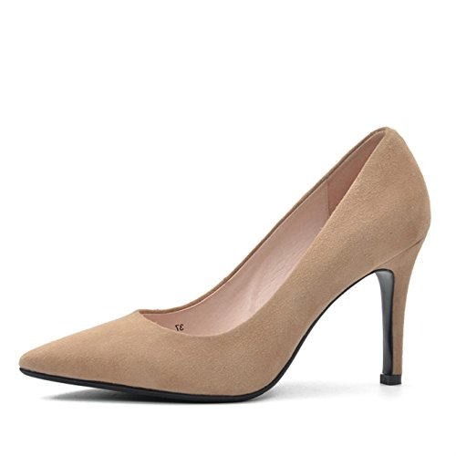 Donna-in High Heels Pumps Women Genuine Leather Shoes Spring Ladies Shoes Natural kid suede 9 cm heel party shoes