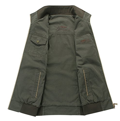 Gihuo Men's Reversible Cotton Leisure Outdoor Pockets Fish Photo Journalist Vest (L, Khaki) by Gihuo (Image #1)