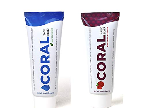 (Coral White Nano Silver Flavor Bundle Bubble Berry and Mint Toothpaste, Natural Fluoride Free Teeth Whitening Toothpaste, Coral Calcium Nano Silver Infused SLS Free)