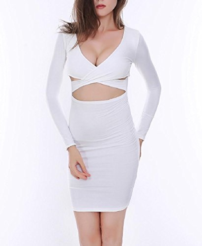 Party Women Bodycon Dress Notch Cross Collar Pencil Coolred White Hollow Sexy Club IdCEq