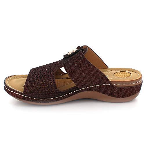 Sandalias Comodidad Marrón De Ligero Verano Abierta Cada Cuña Tamaño Casual Punta Tacón Mujer Ponerse Señoras Día Zapatos wBqOTpT