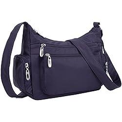 YALUXE Women's Triple Zipper Oxford Nylon Mini Size Small Purse Crossbody Shoulder Bag Purple