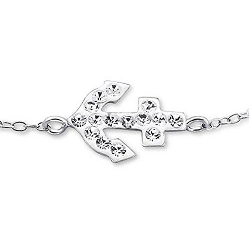 So Chic Bijoux © Enfant Bracelet Ancre Cristal Blanc Argent 925