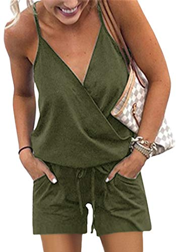 ECOWISH Women's V Neck Spaghetti Strap Drawstring Waisted Long Pants Jumpsuit Rompers 973 Army Green X-Large