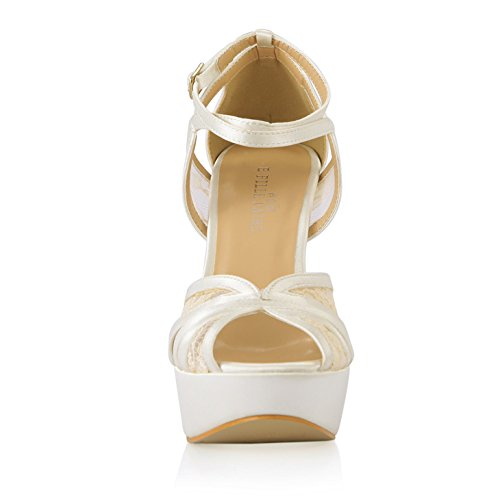 der die wasserdichte milchige Sahnedamastfischspitze die weibliche Schuhe Braut Neue heiraten Seide Sandalen weiße hochhackigen Desktop zaEcYw