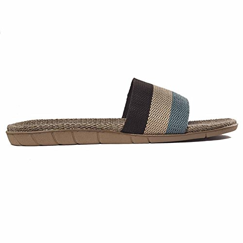 Urban Coco Unisex Stripes Linnen Skidproof House Slippers Koffie