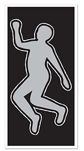 PSI Body Silhouette Crime Scene Chalk Outline Party Decoration 30