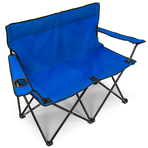 Sorbus Double Folding Chair with Cup Holder Cooler, Foldable Frame, and Portable Carry Bag, Great Loveseat Outdoor Chair for Camping, Sporting Events, Travel, Backyard, Patio, etc(Double Chair – Blue)