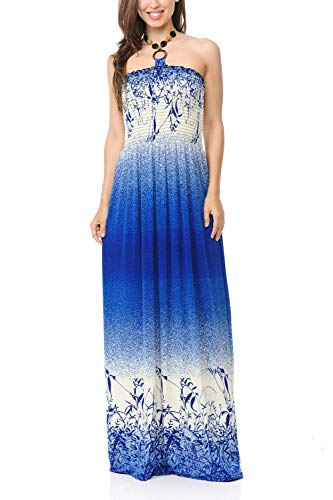 Auliné Collection Womens Shirred Halter Bandeau Tube Sleeveless Long Maxi Dress - Gradient Blue Field L