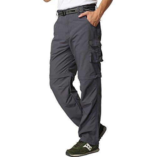 FLYGAGA Men's Outdoor Quick Dry Convertible Lightweight Hiking Fishing Zip Off Cargo Work Pant XX-S Gray - 20% Off Zip