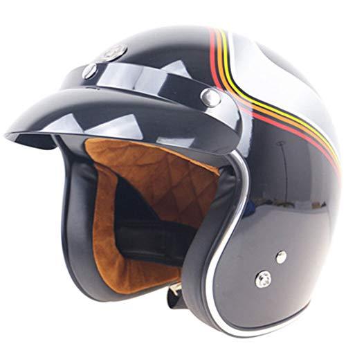 (DYM258 Vintage Harley Half Helmet, Retro 3/4 Open Face Motorcycle DOT Standard Helmet Scooter Jet Helmet with Sun Visor Men and Women Safety Caps,M)
