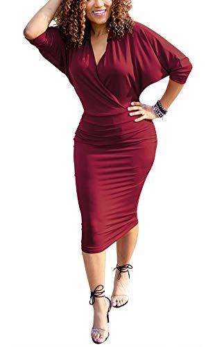- Choichic Women's Bodycon Midi Dress - Elegant Collar Deep V Neck Wrap Batwing Sleeves Pencil Dresses Small Wine red